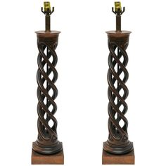 Pair of Frederick Cooper Helix Lamps, Frederick Cooper, Iron Console Table, 1950s, Carving, Modern Table, Table Lamps, Lighting, Wood, Usa