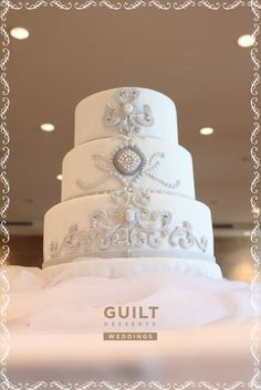White and Silver Wedding Cake