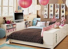 love the color combo. and that bed set-up with the dresser on the side.