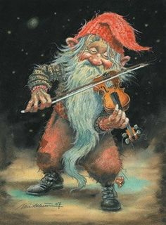 Kjell Midthun - Elves Faeries Gnomes: Gnome with violin. Magical Creatures, Fantasy Creatures, Art And Illustration, Fantasy World, Fantasy Art, Kobold, Elves And Fairies, Fairy Art, Goblin
