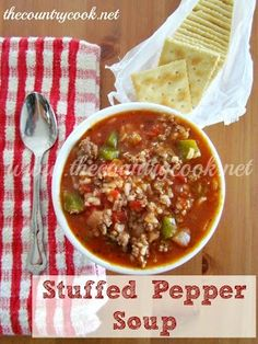 Stuffed Pepper Soup -  Stuffed Pepper Soup 1 lb. ground beef 1 small onion, diced 1 large bell pepper, diced 1 can (29 oz.) diced tomatoes 1 (10 oz) can tomato soup (or tomato sauce) 1 (14 0z) can chicken broth (or beef broth) 2 cups cooked rice 1 tbsp. sugar 1 t tsp. garlic powder salt & pepper, to taste