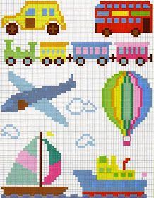 Gráficos de ponto cruz para meninos, divertidos e coloridos. Gráficos para bordar aviões, barcos, trenzinhos, carrinhos e muito mais.   ...
