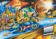 'Space Debris Car. My dream car is designed to live and travel in another planet while the Earth is being restored. The amount of space debris orbiting the Earth is increasing at tremendous speeds. The car of my dreams in the new planet runs on space debris and turns it into fuel. Thus my dream car reduces space junk tremendously.' by Regine Mak Zi Ling #KidsArt #ToyotaDreamCar