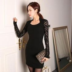 Lace Long-Sleeved Bodycon Dress from #YesStyle <3 migunstyle YesStyle.com