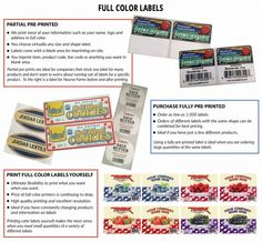 Full Color Labels 1 Partial Pre Printed 2 Purchase Fully