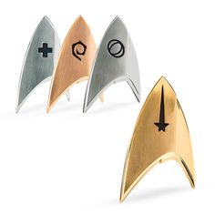 We present to you the brand new fully-licensed insignia badges from Star Trek: Discovery , perfect for that new uniform you're making. Available in Command, Medical, Operations, or Science division. Now with bonus Cadet and Black Badge options. Star Trek Symbol, Star Trek Tattoo, Star Trek Logo, Star Wars, Star Trek Wedding, Geek Wedding, Wedding Gifts, Wedding Ideas, Star Trek Communicator