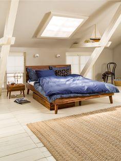 Micasa Schlafzimmer mit Bett, Nachttisch und Schublade aus dem Programm CARA Scandinavian Bedroom, Bunk Beds, Toddler Bed, Sweet Home, Interior Design, Furniture, Bedrooms, Home Decor, Yurts