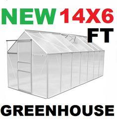 TITAN+GREENHOUSE+ALIMINIUM+POLYCARBONATE+14FT+X+6FT+8+SQM, £299.00