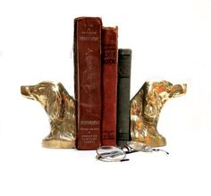 Brass Dog Bookends Irish Setter Retriever 1970s by CoconutRoad, $40.00