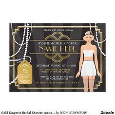 Gold Lingerie Bridal Shower 1920s Pearl Invitation