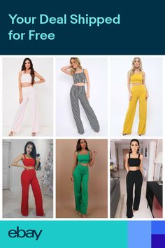 1e47c55686c8f Womens Ladies Crop Top and Stretch Wide Leg Trousers two Piece Co-ord Suit  Set