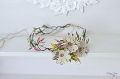 Boho wedding floral crown Linen daisies buttons rustic by Vualia