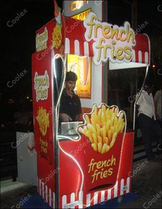 We make customized French fries kiosk Food Cart Design, Food Truck Design, Fries Store, Kiosk Design, Store Design, Bike Food, Food Kiosk, Cast Iron Recipes, Food Stall