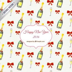 Hand painted new year pattern I Free Vector