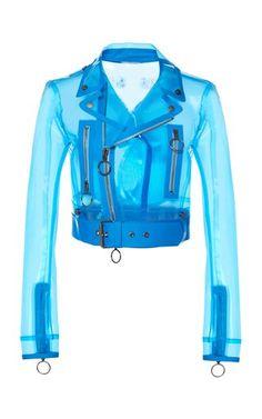 Cropped PVC Biker Jacket by Off-White c/o Virgil Abloh Resort 2019 Alternative Mode, Alternative Fashion, Look Fashion, Fashion Outfits, Fashion Design, Vintage Outfits, Vintage Clothing, Off White Jacket, Leather Jacket Outfits
