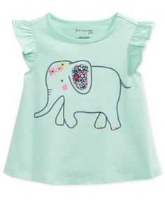 First Impressions Baby Girls' Flutter-Sleeve Elephant T-Shirt, Only at Macy's