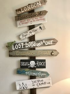 Hand designed directional board for Peter Pan bedroom / nursery