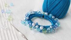 ビーズシュシュの作り方・編み方レシピ 改良版 vr1.2 scrunchie with beads tutorial