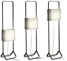 Lámpara Oli, 2007. #Diseño y producción: A3 Pantalla de altura regulable, base metálica pintada al horno, pantalla de tela plastificada.
