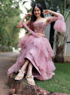 Adah Sharma Navel Show Photo Shoot In Pink Dress - Tollywood Stars Designer Bollywood style clothing Indian Wedding Outfits, Indian Outfits, Western Dresses, Indian Dresses, Pakistani Dresses, Indian Designer Outfits, Designer Dresses, Lehnga Dress, Lehenga
