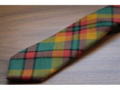 Duchamp Orange Tartan Wool Tie Handmade In England - Malford of London