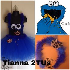 Cookie Monster Inspired Tianna 2TU Dress. The dress is made with a royal blue crocheted bodice and lots of royal blue tulle. The straps are made with royal blue tulle and blue boa are adjustable. Cookie Monster's eyes, mouth, and cookies are included at the bottom of the dress. This also comes with a Cookie Monster headband.