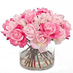 Real Touch Roses Arrangement with Artificial Rose Buds by flovery, $270.00