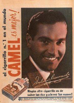Publicidad de Camel, cuando aún estaba bien visto que los famosos lo promocionasen. Eran los años 50.