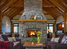 Double Sided Fireplace with Couches