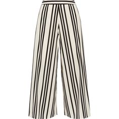 Alice + Olivia Sherice striped georgette wide-leg pants ($265) ❤ liked on Polyvore featuring pants, bottoms, trousers, jeans, ecru, high-waisted wide leg pants, white pants, white high waisted pants, high-waist trousers and wide leg pants