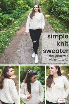 Knit this beginner friendly garter stitch pullover sweater with my free pattern and video tutorial! Designed with crocheters and beginner knitters in mind we use bulky wool ease thick and quick yarn and super simple stitches! Loom Knitting Patterns, Easy Knitting, Knitting Designs, Knitting Tutorials, Sock Knitting, Stitch Patterns, Knitting Machine, Knitting Ideas, Knitting Projects