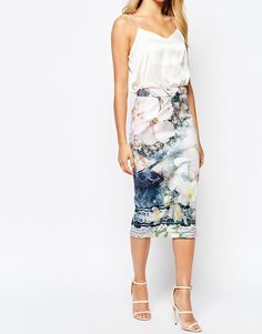 Image 4 of Ted Baker Sinda Tile Floral Midi Skirt