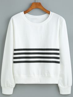 Round Neck Striped Loose Sweatshirt, 35% Off for 1st Sign Up