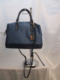 Tommy Hilfiger Blue Handbag Purse Authentic Brand New Tags Bowler 6932305-095 #TommyHilfiger #Bowler