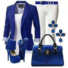 Cobalt royal blue blazer and white outfit Mode Outfits, Casual Outfits, Fashion Outfits, Womens Fashion, Fashion Trends, Fasion, Fashion Heels, Trending Fashion, Fall Outfits