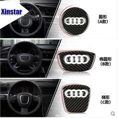 Carbon Fiber Steering Wheel Emblem Filler Decal For Audi A4 S4 A5 Q5 S5 A6 Q7