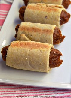 vegan: seitan in a blanket. i just recently made a variation of these for dinner, and they were AWESOME