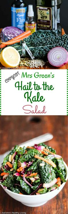 Copycat Mrs Green's Hail To The Kale Salad - so addictively good! Make a big batch and eat it for lunch throughout the week ~ http://jeanetteshealthyliving.com