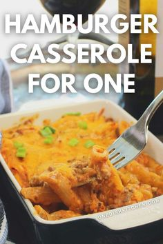 This mini hamburger casserole is baked with seasoned ground beef, pasta, and cheese. It's comfort food at its finest, easy to make, and full of flavor. Hamburger Casserole, Ground Beef Casserole, Casserole Recipes, Cooking For One, Meals For One, Food Dishes, Main Dishes, Mini Hamburgers, Breakfast Recipes