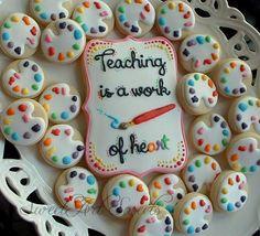 Teacher cookies - art teacher cookies - teacher appreciation gifts - back to school Galletas Cookies, Iced Cookies, Cute Cookies, Royal Icing Cookies, Cupcake Cookies, Sugar Cookies, Cookies Kids, Baby Cookies, Heart Cookies