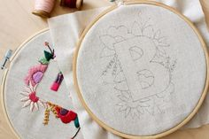 Letter B Embroidery Pattern Floral Embroidery Pattern PDF