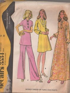 MOMSPatterns Vintage Sewing Patterns - McCall's 3534 Vintage 70's Sewing Pattern GROOVY Mod Tunic Top & Pants Pantsuit, Princess Seams Day Dress or Hostess Maxi Gown