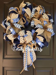 Denim Deco Mesh Wreath, Navy Blue, Tan Polka Dots, Burlap, Jute Flex Tubing