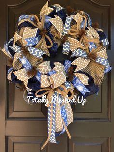 Denim Deco Mesh Wreath, Navy Blue, Tan Polka Dots, Burlap, Jute Flex Tubing