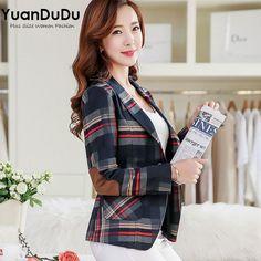 XXXL Plus Size Jackets for Women 2016 Autumn Formal Style Elegant Fashion Plaid Long Sleeve Two Buttons Slim Casual Blazer Mujer