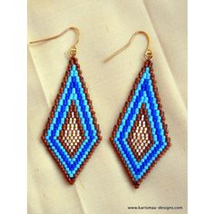 Colorful Seed bead earrings diamond shaped brick stitch delica beads indigo blue, sky blue, brown and golden