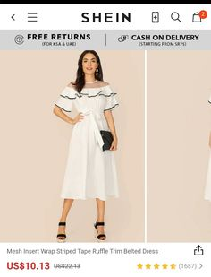 Buy SHEIN women Mesh Insert Wrap Striped Tape Ruffle Trim Belted Dress Use promocode: SADCA15 to get extra 15% discount