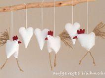 Frühjahrs - Osterdeko 3 Hühnchen mit 3 Herzen