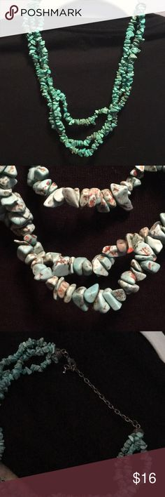 """GORGEOUS! Three-Strand Turquoise Necklace Perfect to dress up a plain outfit! Three- strand turquoise necklace. Chain closure is tarnished from wear. Adjustable from approx 16-20.5"""" Jewelry Necklaces"""