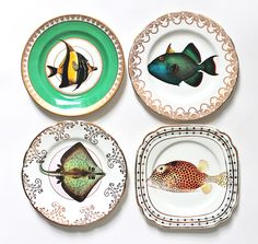 Fancy Fish plate set by yvonneellen on Etsy, $54.00